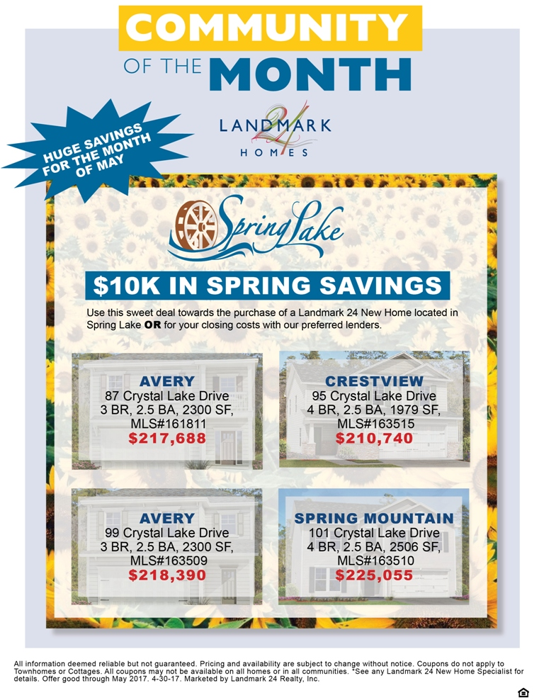 May Savings in Spring Lake at $10K off!
